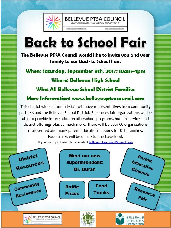 2017 Bellevue PTSA Council Back to School Fair
